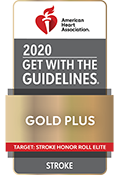 American Heart Association (AHA)/American Stroke Association's (ASA) Get With The Guidelines®-Stroke Gold Plus Achievement Award with Target: StrokeSM Honor Roll Elite logo